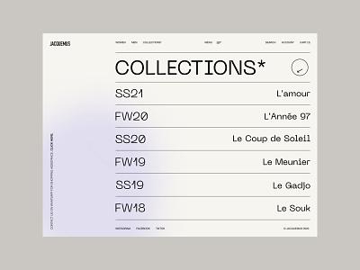 Jacquemus store minimalism clothing e-commerce gradient fashion brand menu jacquemus collection fashion landing page shop typography interaction website web minimal design ux ui