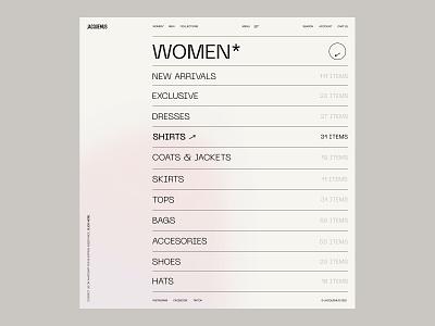 Jacquemus© brand identity design store e-commerce clothing brand identity grid minimalism web design category women fashion landing page interaction shop website web minimal ux ui design