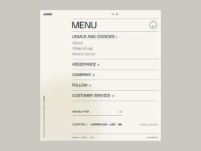 Jacquemus - Menu page concepts gradient clean figma grid concept layout interface menu page menu e-commerce landing page interaction shop website web minimal ui ux design