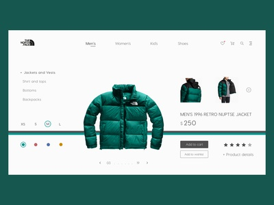 The North Face - Product page UI