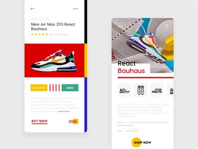 Nike Bauhaus - Mobile App UI