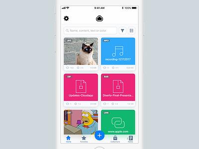 Uploaded Drops interface uploads cloud app ui