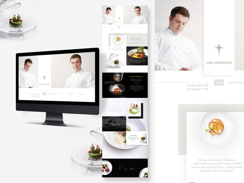 "Home page ""Luke Armstrong Chef"" website beautiful clean stylish concept luxury web drink food restaurant webdesign"