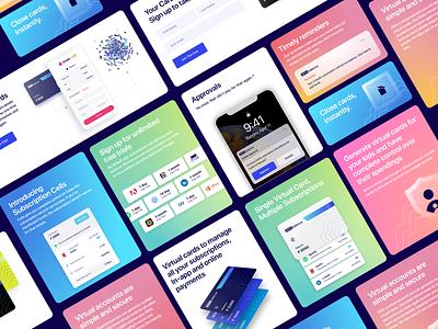 Website | Cards design fintech branding checkout credit card subscriptions brand design virtual card web design fintech gradient glassmorphism website design cards ui cards