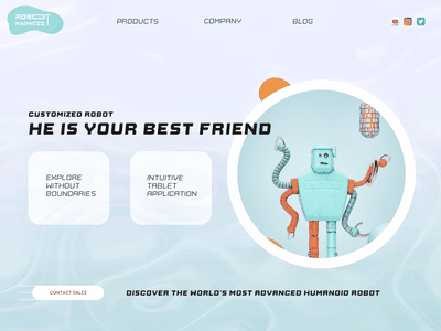 Robot Landing page concept one page scifi ui ux typography minimal 3d cinema4d 3d art artwork illustration