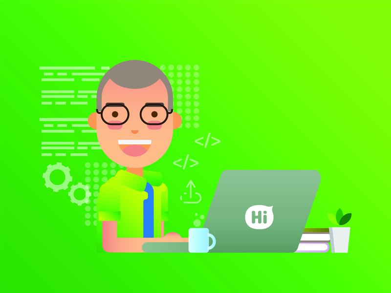 Developer Hi App vector branding design illustration ui graphic