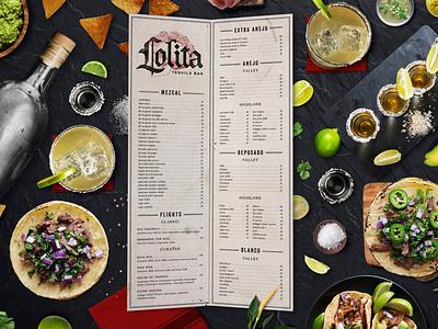 Lolita Cocina & Tequila Bar Tequila / Wine Menu logo menu design restaurant branding creative agency branding