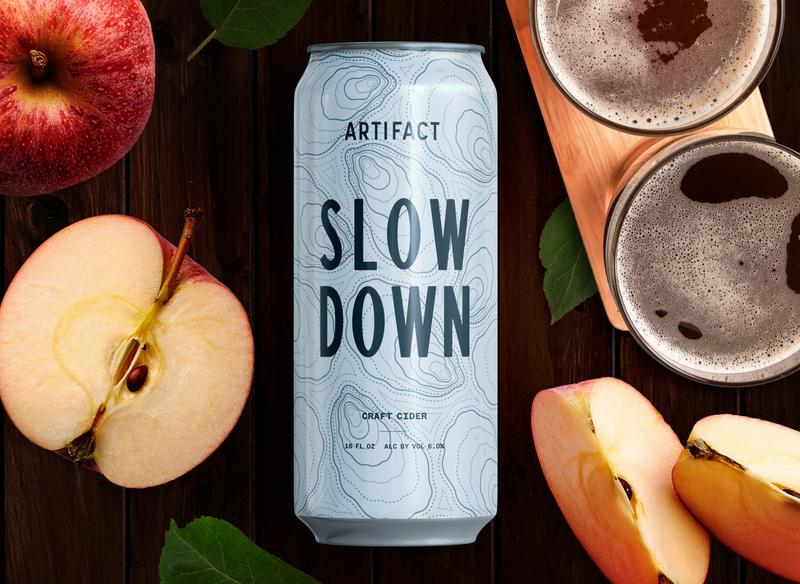 "Artifact Cider Project ""Slow Down"" label design label design logo creative agency branding"