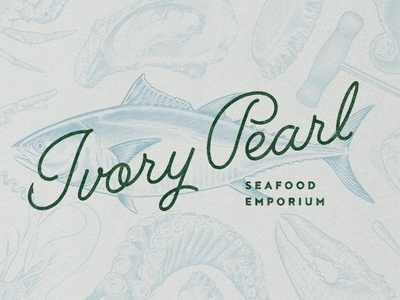 Ivory Pearl Logo seafood cocktail neon sign logotype restaurant branding logo branding creative agency