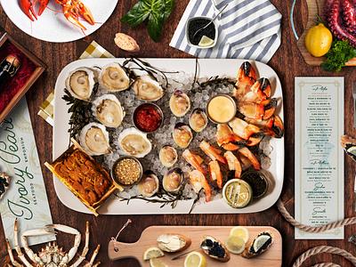 Ivory Pearl Branding seafood cocktail menu design logotype restaurant branding logo creative agency branding