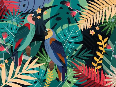 Parrots leaves flowers parrots tropics bird illustration botanical