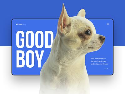 Richard dog🐶 dog dog illustration typography studio illustration website webdesign web simple design ux minimal portfolio inspiration ui