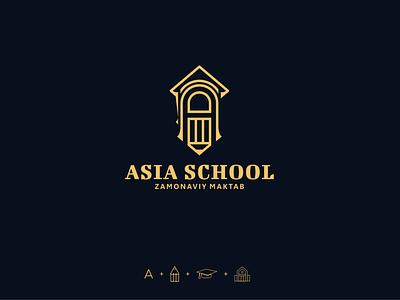 Asia School - Logo Branding design branding design brand design design school learning centre study education brand identity logotype brand logo design branding logo