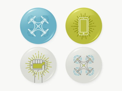 Drones & Phones Buttons buttons pins icons illustration drone line vector
