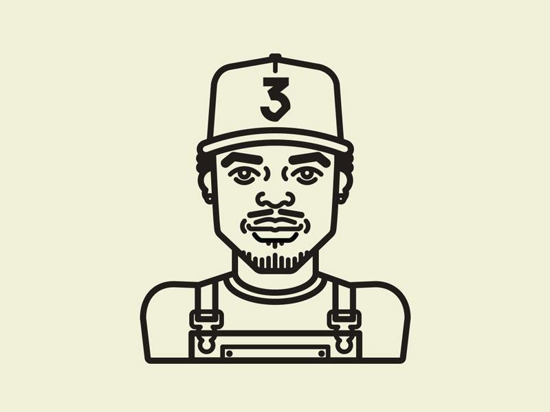 Chance the Rapper Illie character line art chance the rapper hip hop illies hip hop music icon chance rapper rap illustration