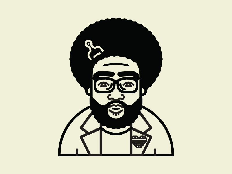 Questlove on Hip Hop Illies character hip hop illies hip hop the roots music art line illustration icon questlove