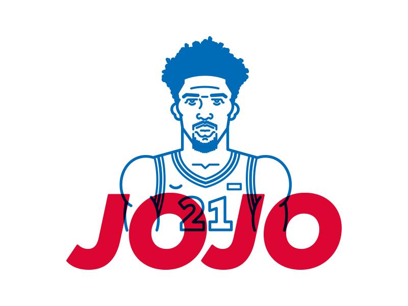 "Joel ""Jojo"" Embiid character art line vector icon basketball playoffs illustration philadelphia embiid philly sixers"