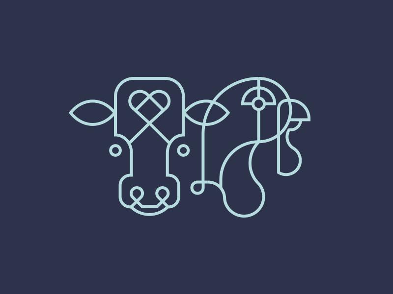 Mooove & Gobble Branding vector line art branding mark vegan logo monoline turkey cow