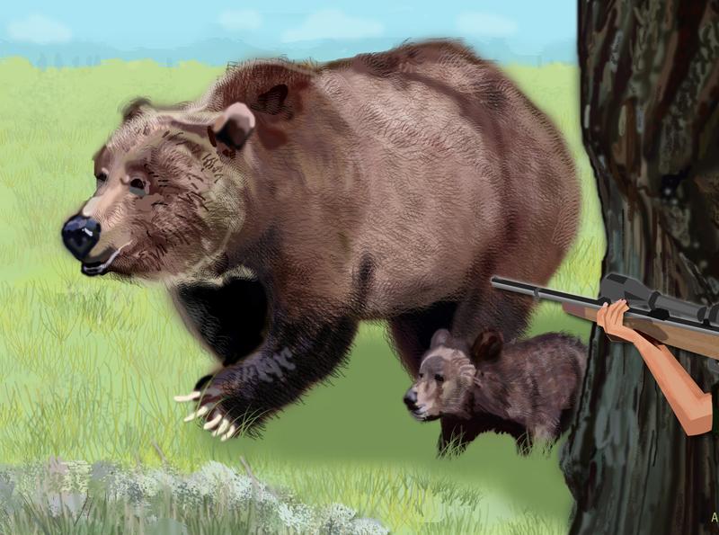 Mama Bear and cub art grizzly bear wildlife art wildlife digital painting illustration