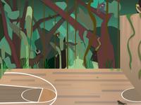 Basketball Court Forest Environment