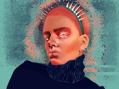 thorn addiction 🖤 freckles dark redhair men sweater rocknroll headband green winter portrait spike peach blue graphic design design procreate digital art illustration digital illustration