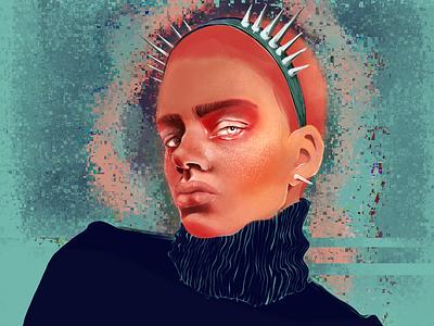 thorn addiction 🖤 freckles dark redhair men sweater rocknroll headband green winter portrait spike peach blue graphic design design procreate digital art illustration digital illustration