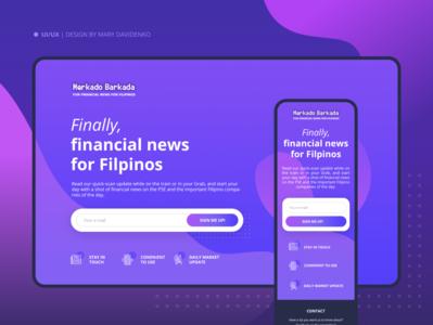 Adaptive landing page for Financial news platform ideas interaction inspiration tablet mobile finance adaptivedesign web ui  ux webdesign design