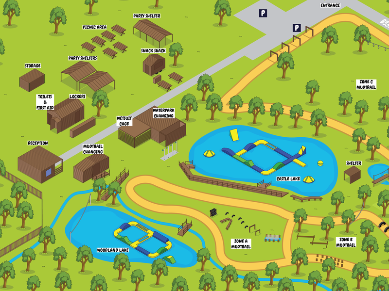 Dorset Waterpark map illustration isometric vector map