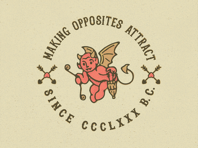 Opposites Attract freelance goods apparel sale attraction love imp devil cupid graphics tee tshirt