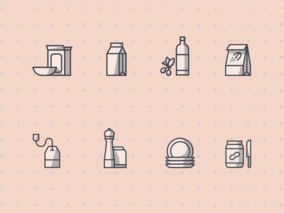 Icons for kitchen shelfs