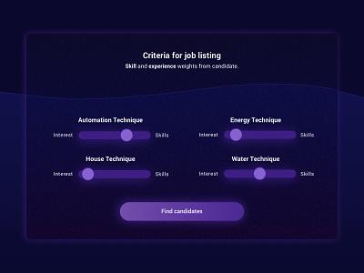 Job Seeking Match Concept - Criteria match job seeker slider sliders filter filters criteria listing joblisting job listing concept art concept