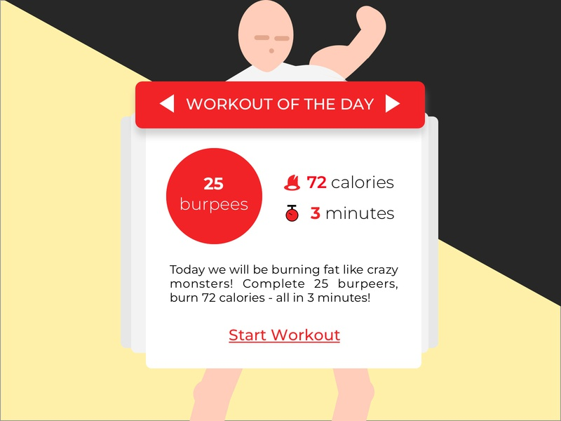 Daily Workout | Daily UI #062 daily workout daily ui 62 dailyui 62 workout of the day workout app workout tracker wod tracker workout