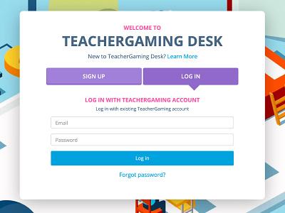 TeacherGaming Desk - Landing / Login form login form signup login teachergaming