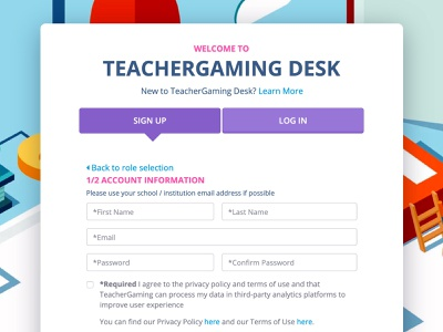 TeacherGaming Desk - Landing / Signup ui signup page account signup screen signup form sign-up signup teachergaming