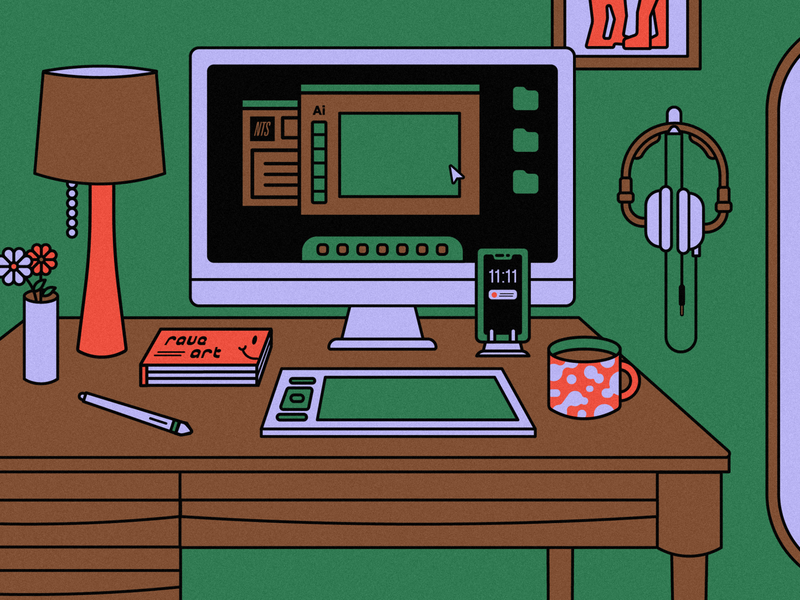WFH nashville tennessee adobe illustrator adobe illustration coffee mug coffee plants mid mod furniture interior home office workspace