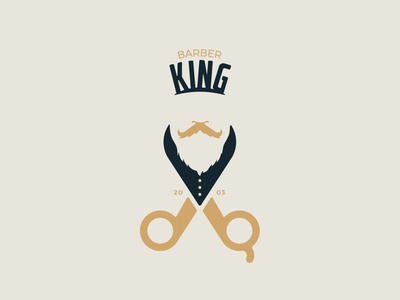 Barber King | King + Beard + Scissor Logo
