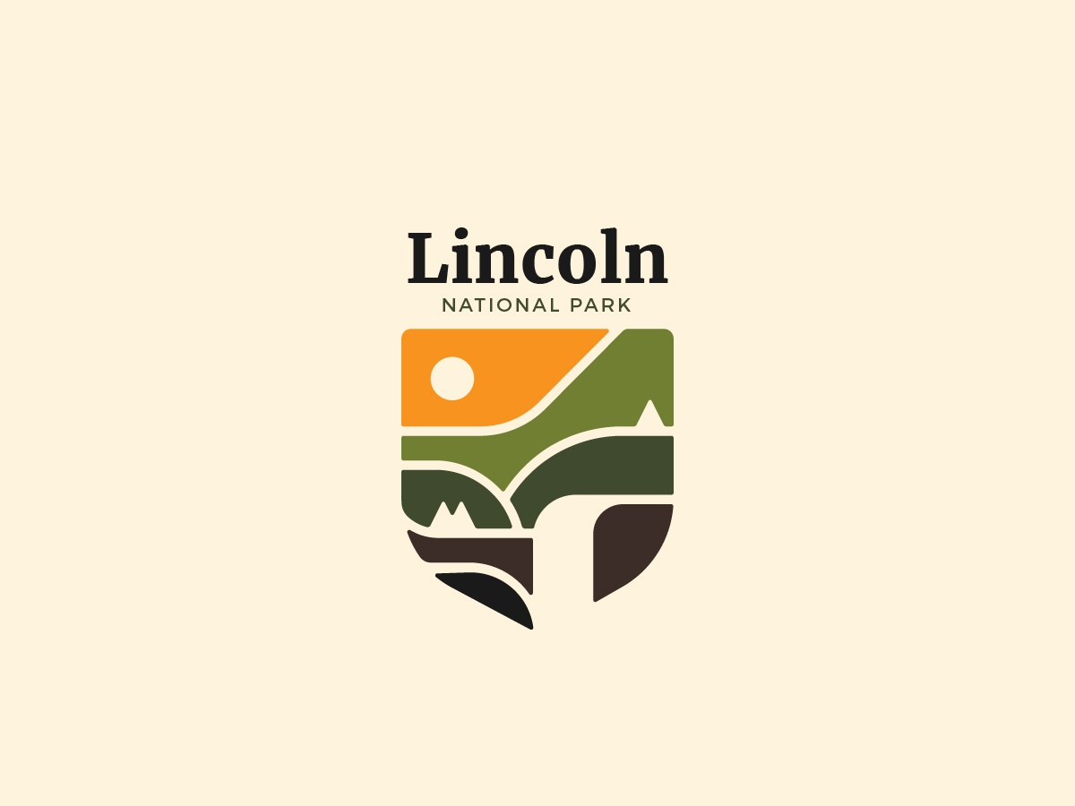 Lincoln National Park | Landscape logo geometric logo geometric green park logo mountain logo mountain waterfall nature logo lincoln park reserve natural nature landscape branding illustration logo design logotype negative space logo