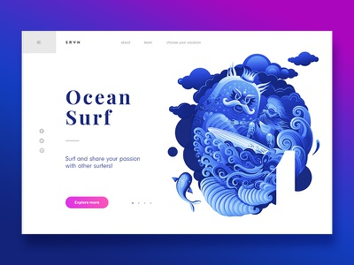Summer Vacation - Ocean Surf surf webdesign header page landing vector colours clean character illustration