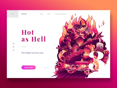 Summer Vacation - Hot as Hell summer red webdesign vector fire landing page illustration header colours clean character