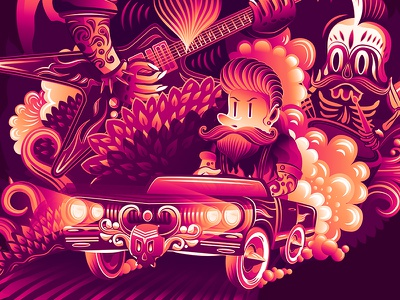 Illustration for Summer Vacation 3 road skull summer vector vacation illustration red fire colours character car