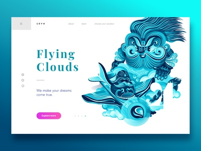 Summer Vacation - Flying Clouds air webdesign summer vector sky blue landing page illustration header clouds colours clean character