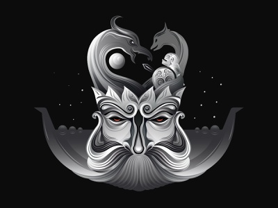 Viking illustration vector character warrior beard viking