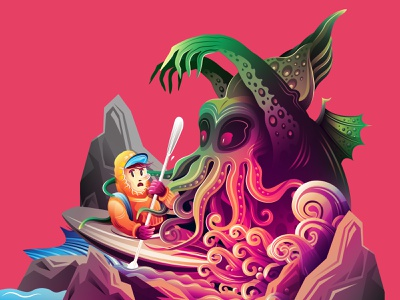 The river adventure art cartoon lovecraft vector halloween horror character boat illustration