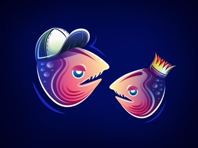 Fish colours clean sea design fish blue character vector illustration