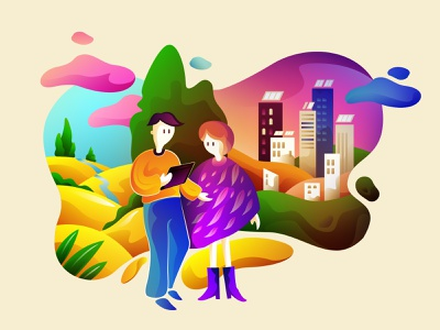 Nature & City city nature simple digital colours vector character illustration