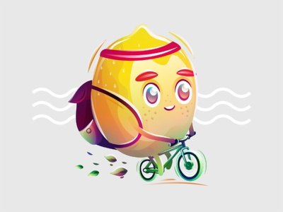 Lemon bike yellow lemon nature ride fruit vector character illustration