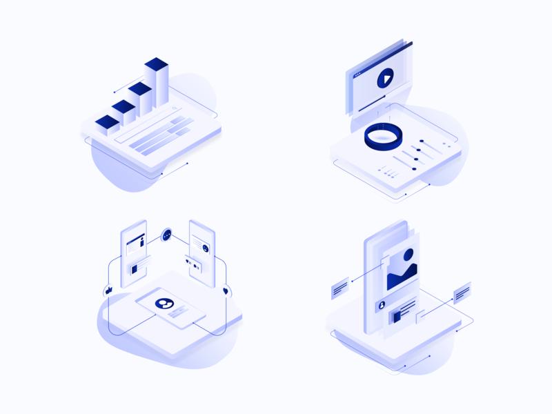 Isometric Services Illustrations artwork branding agency mobile app social media video seo services illustrations icons gradient isometric