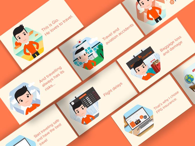 Storyboard Illustration for FPG Insurance story visual frame video animation 2d polygon orange clean simple flight insurance travel artwork story illustration storyboard