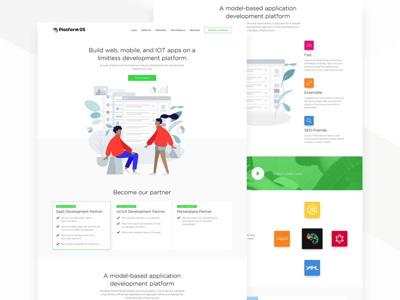 PlatformOS Web Design web design homepage design web ux modern illustration homepage landing page clean simple ui minimal