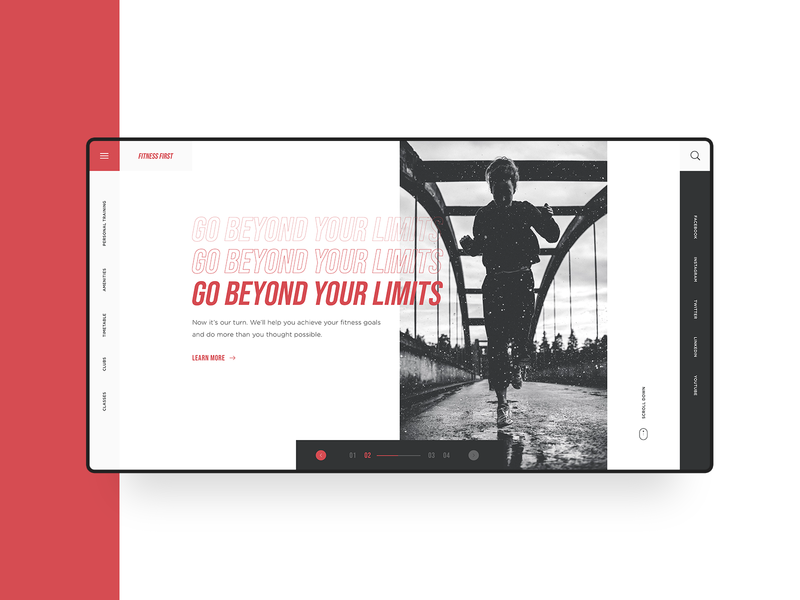 Fitness First Web Design Concept web red workout fitness gym design homepage blogger minimal clean simple ux modern landing page web design ui